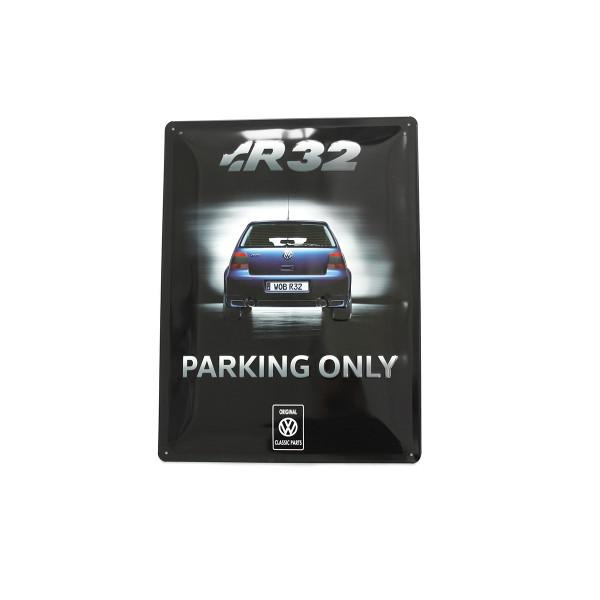 Original VW R32 Parking Only Metallschild Heckansicht 30x40 cm Schild Accessoires