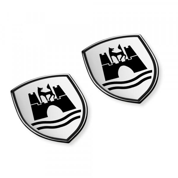 Original VW Dekorfolien Set Wolfsburg Wappen Emblem satinschwarz chromglanz