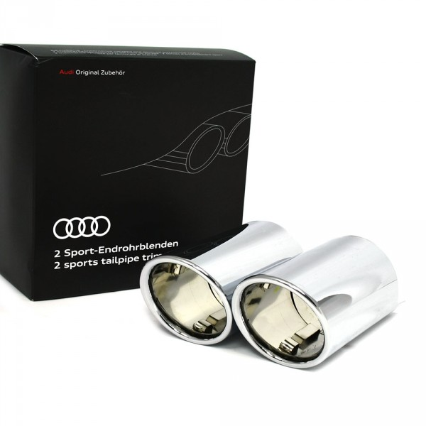 Original Audi Q2 Sport Endrohrblenden Chrom 2-flutig links Exterieur Auspuffblenden