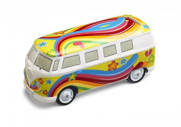 VW Bulli Spardose Flower Power T1 Bus, gelb, Original Volkswagen Zubehör