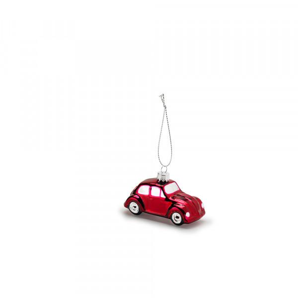 Original VW Weihnachtsbaumanhänger Käfer Rot Glas-Anhänger