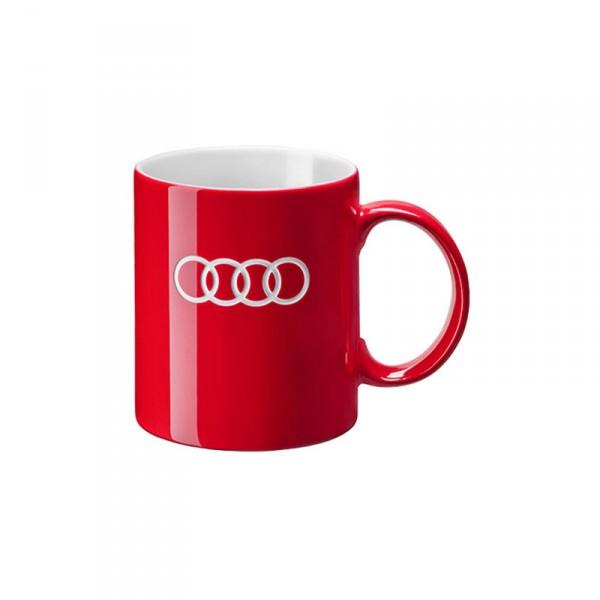 Audi Ringe Tasse rot Original Audi Sport Porzellantasse