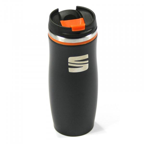 Original Seat Thermosflasche Edelstahl Flasche Thermoskanne schwarz/orange 6H1069604KAA