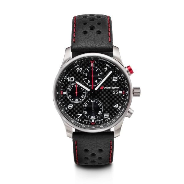 Original Audi Sport Chronograph Uhr Armbanduhr Herren Carbon Leder schwarz
