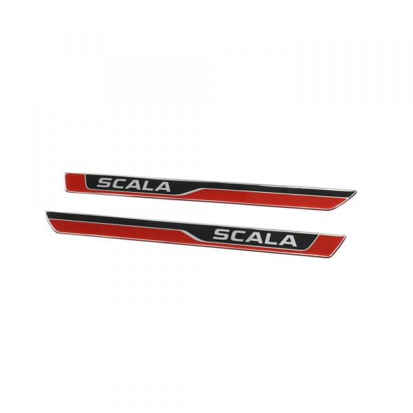 Original Skoda Scala 3D Einstiegsleisten Set vorn Türschweller Dekor Leisten rot