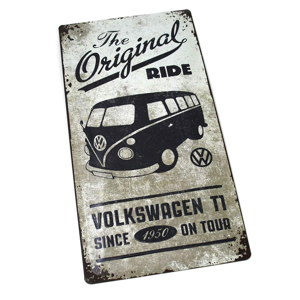 vw bulli t1 blechschild original accessoires klassik schild 25x50 oem ebay. Black Bedroom Furniture Sets. Home Design Ideas