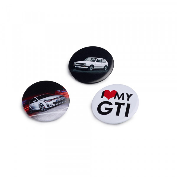 "Original Volkswagen Button ""I Love My GTI"" Anstecker VW Golf GTI Logo (3 Stück) Pin 5G1087703A"