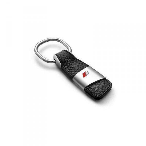 Original Audi S-Line Schlüsselanhänger Leder Anhänger Keyring Lasergravur Schlüsselband