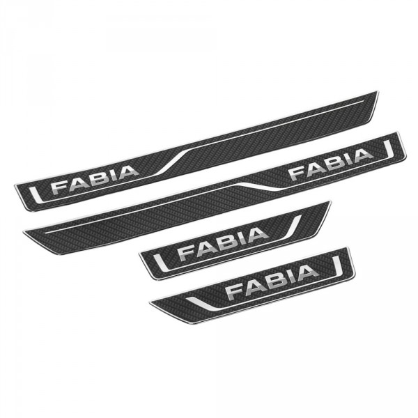 Original Skoda Fabia III (NJ) Carbon Optik Einstiegsleisten Set vorn hinten Zierstreifen
