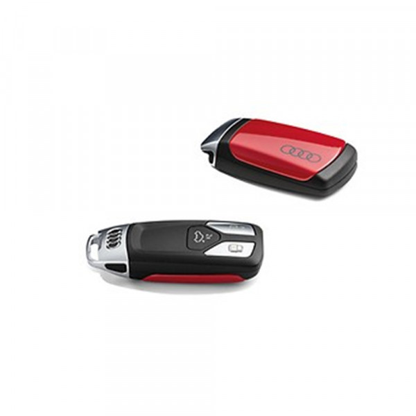 Original Audi Schlüsselblende mit Audi Ringen Schriftzug Schlüssel Cover tangorot