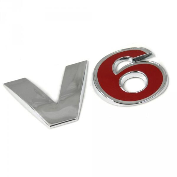 Original VW Golf 4 (1J) V6 Schriftzug hinten Emblem Heckklappe Logo chrom rot