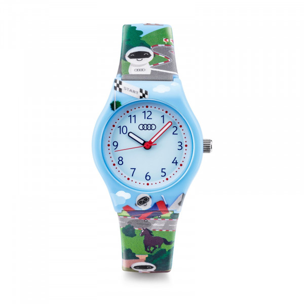 Original Audi Armbanduhr Kinder Uhr Roboter ADUI Design hellblau 3202000900