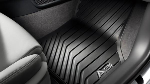 Gummi Fußmatten vorn Original Audi A3 (8V) schwarz Allwettermatten Schriftzug hell