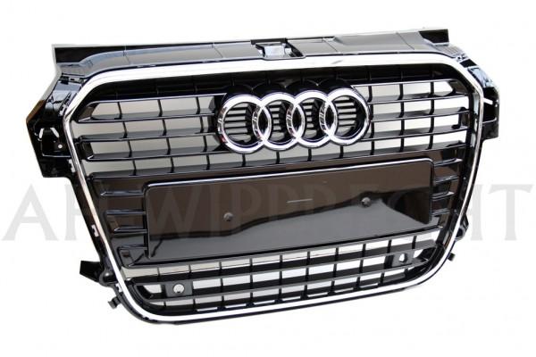 Kühlergrill Original Audi A1 S-Line schwarz glänzend Chromrahmen Tuning Grill