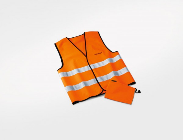 Warnweste Original VW Orange in Stofftasche mit Volkswagen Schriftzug Sicherheit