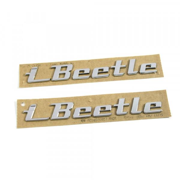 Original VW I-Beetle Schriftzug Set seitlich Kotflügel Emblem Logo brilliantchrom