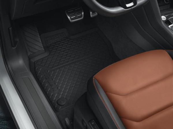 Original VW Gummi Fußmatten Tiguan II MQB Allwettermatten schwarz 2-teilig vorn