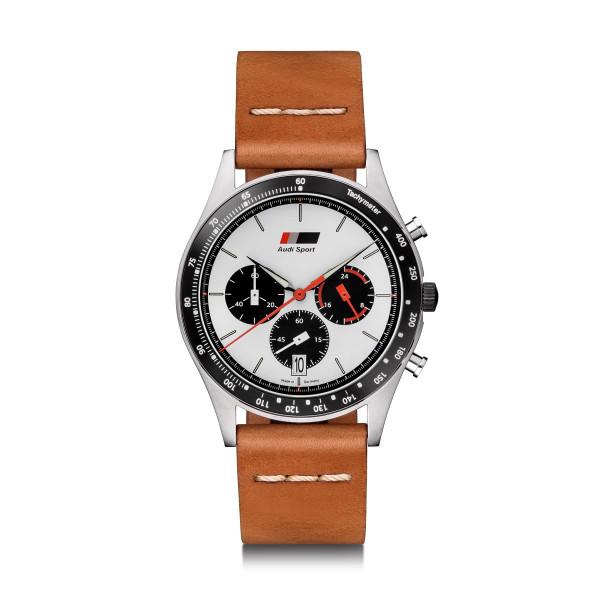 Original Audi Heritage Chronograph Uhr Armbanduhr Herren braun/weiß 3101900600