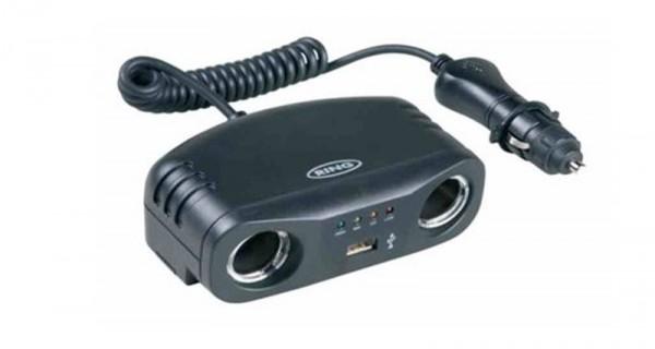 Doppelbuchse mit USB Batterie-Analysegerät zB Auto Handyladegerät Ladekabel