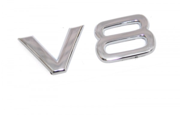 Schriftzug V8 Original Audi Emblem Tuning Kotflügel Zeichen RS-Modelle Chrom