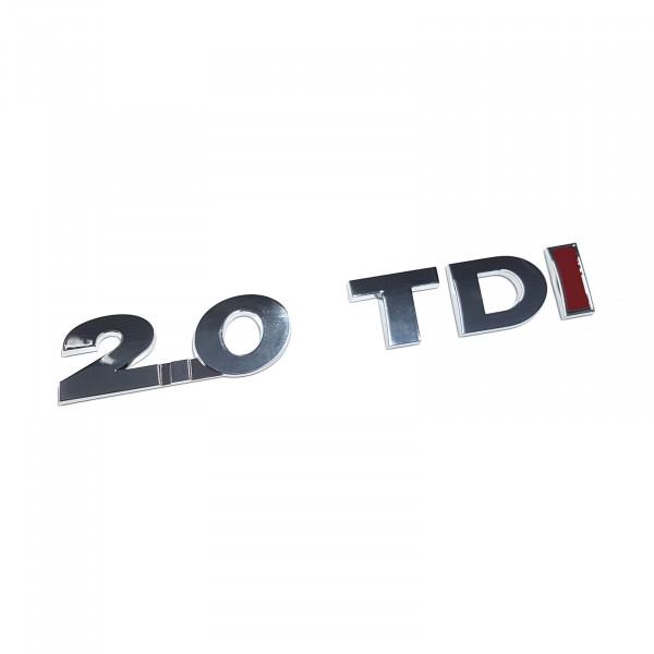 Original VW Schriftzug 2.0 TDI (rotes I) Emblem Logo Aufkleber chrom glänzend