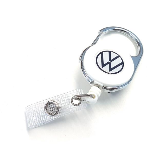 Original VW Ausweishalter Clip Seilzug-Automatik Schlüsselanhänger Schlüsselring 000087019H