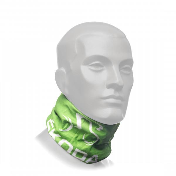 Original Skoda Multifunktionstuch Loop Schlauchschal Halstuch Kopftuch grün/weiß