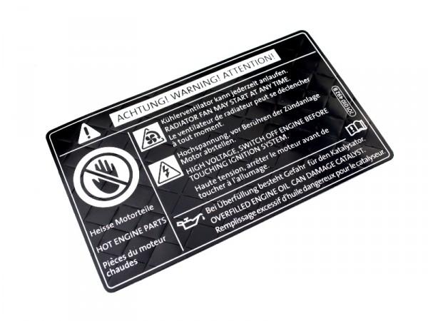 Kennschild Warnschild Motorraum