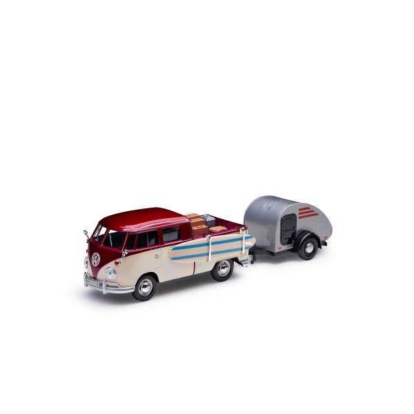Original VW Modellauto T1 Pickup Wohnanhänger Miniatur 1:24 Bus Bulli Typ 2 Beige 211099303BL9