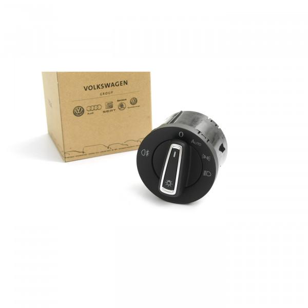 Original VW Seat Mehrfachschalter Lichtschalter schwarz alu automatisches Fahrlicht Schalter