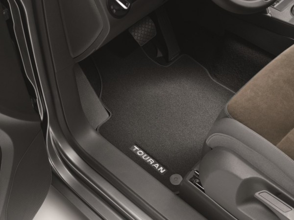 Premium Velours Fußmatten Original VW Touran Textilmatten v+h satinschwarz 1T1061270WGK