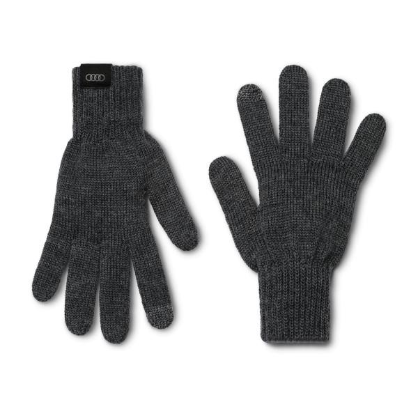 Strickhandschuhe Original Audi Sport unisex grau Merino Wolle Touchscreen Handschuhe
