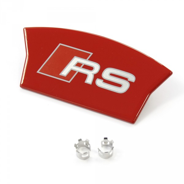 Original Audi RS Reparatursatz für Bremssattel hinten Blende mit Emblem rot