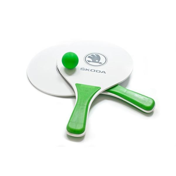 Original Skoda Beachball Spiel Strandspiel Freizeit Tennis Tischtennis Schläger