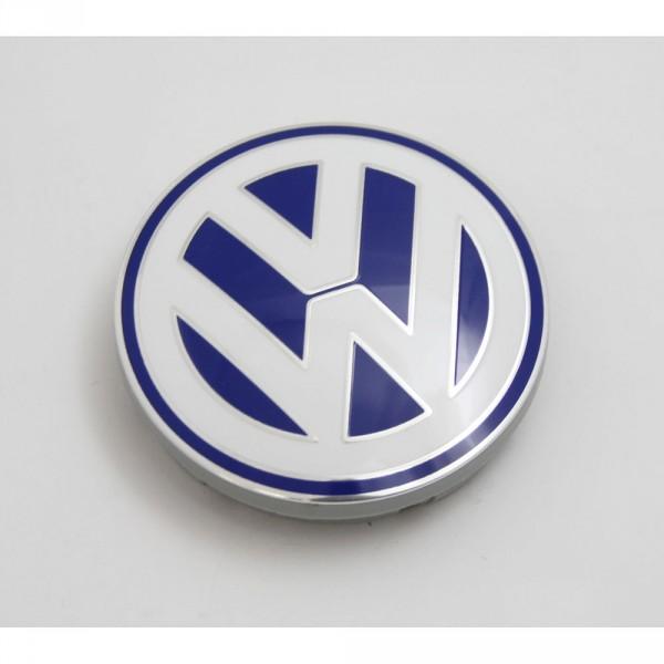 VW Nabenabdeckung Alufelge Original Abdeckkappe blau / weiß (Golf IV, Bora, Polo)