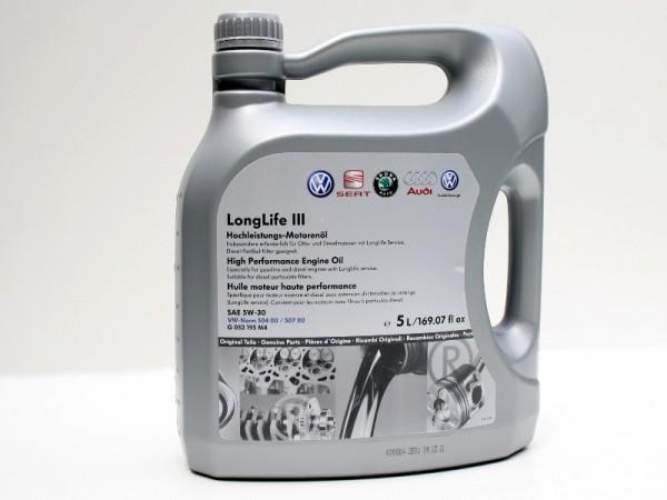 VW Audi Longlife 3 III Motoröl (5W30) Original Öl 5L Norm 50400 50700 G052195M4