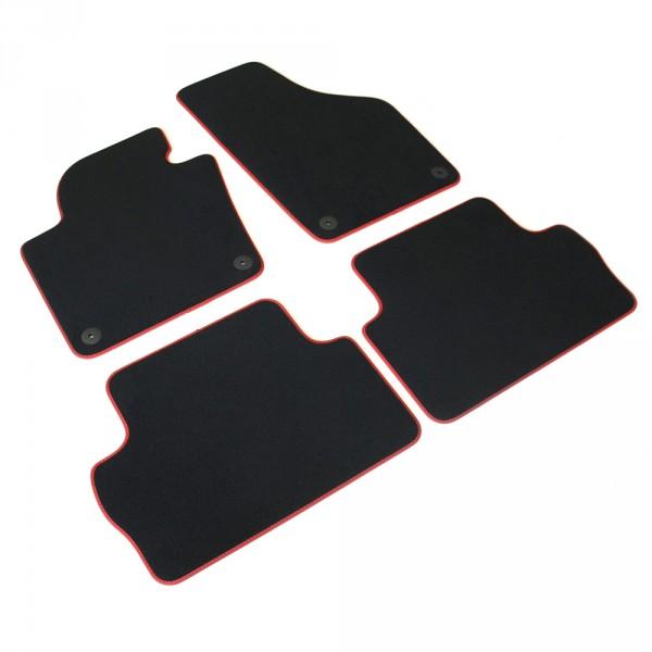 Original Seat Alhambra FR Textil Fußmatten Satz v+h Velours Matten schwarz rot