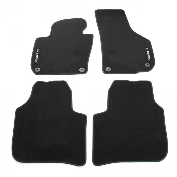 Original Skoda Superb II (3T) Prestige Textil Fußmatten Stoffmatten schwarz Schriftzug