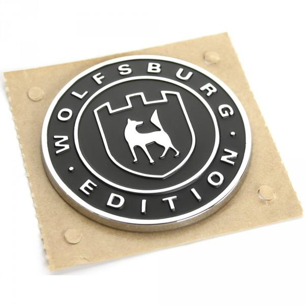 Original VW Wolfsburg Edition Plakette seitlich satinschwarz chromglanz
