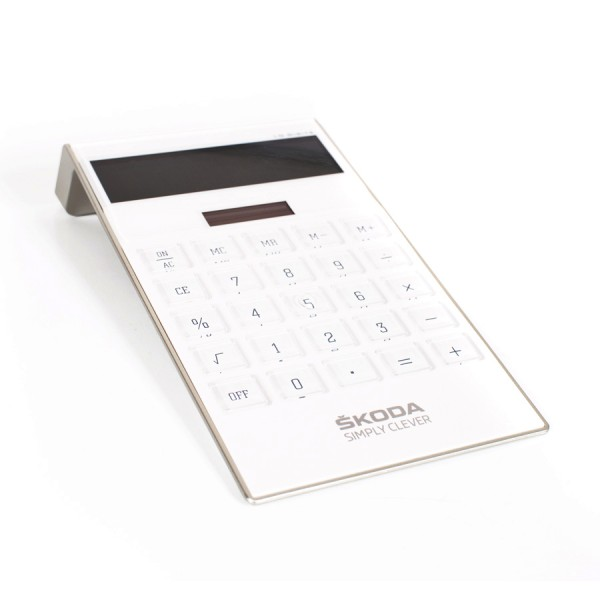 Original Skoda Solar Taschenrechner Tischrechner weiß