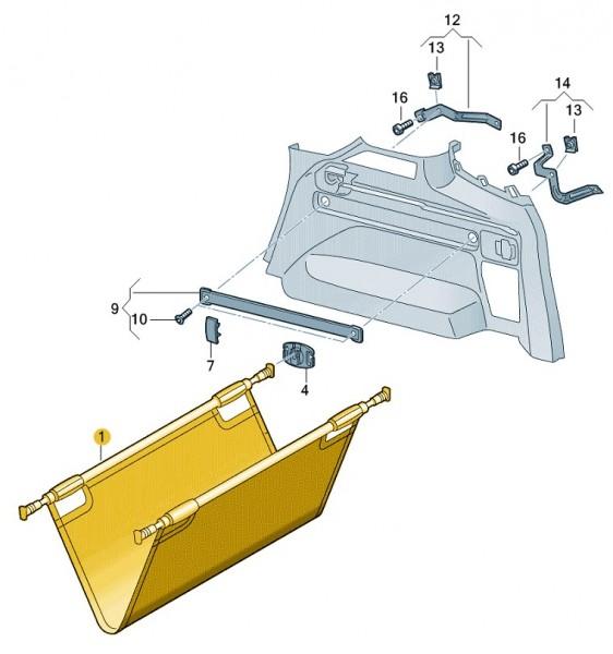 Gepäckteleskopsicherung Kofferraum Original VW Touran Nachrüstung