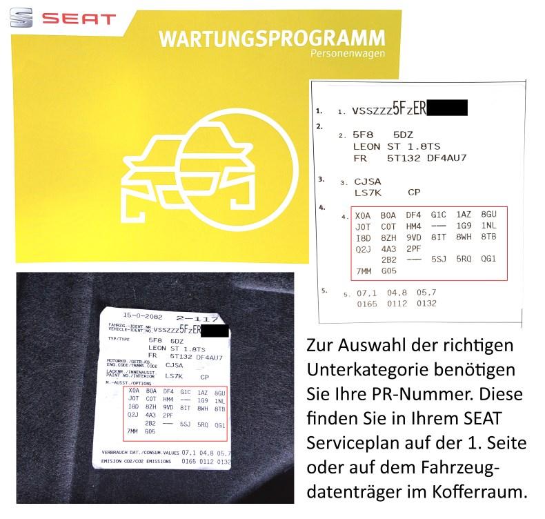 Seat Bremsen PR-Nummer Serviceplan