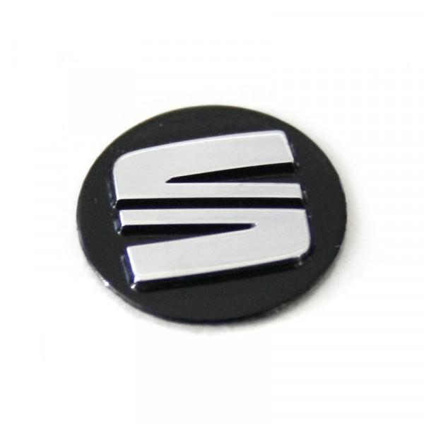 Seat Emblem Zeichen Autoschlüssel Zündschlüssel Plakette Fernbedienung schwarz/chrom