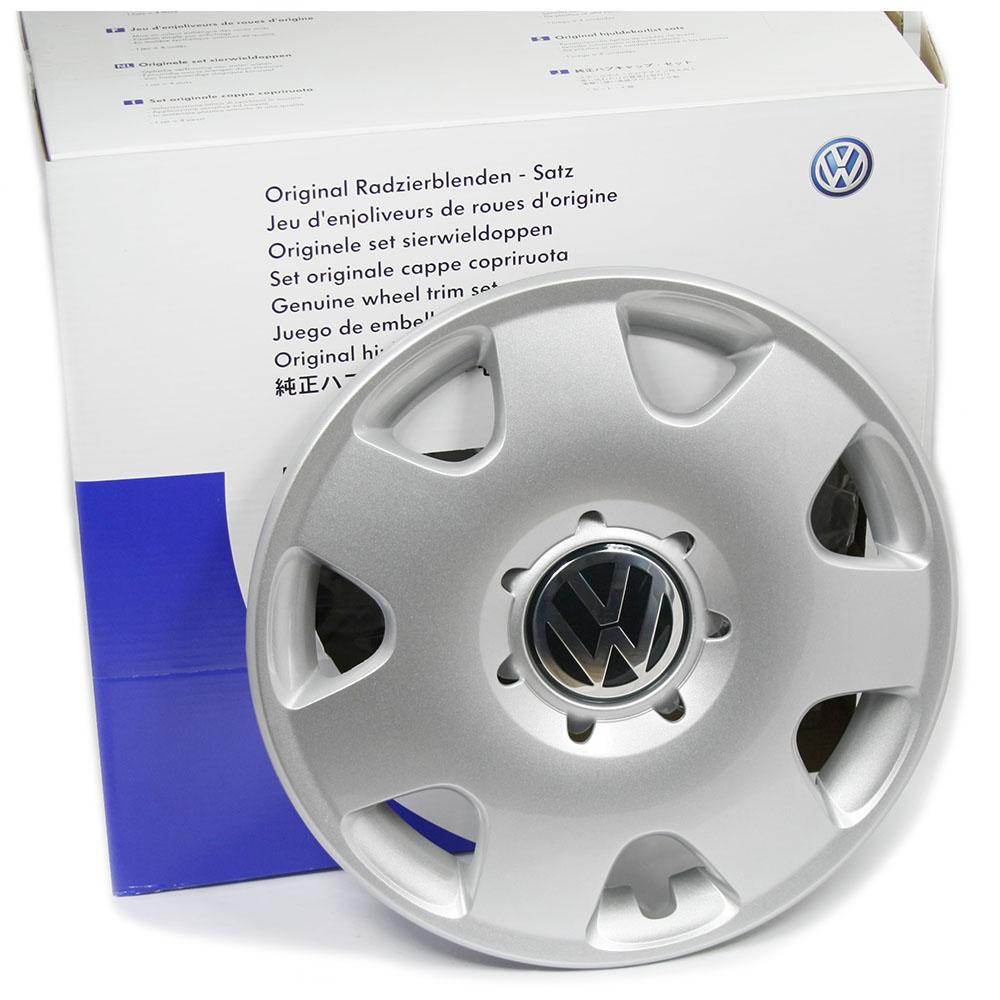 Original VW Polo Fox Radkappen Set 14 Zoll Radzierblenden Abdeckung Silber OEM