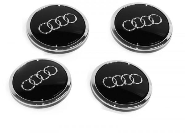 Nabenkappen-Set Audi A3 / TT Original Zubehör Tuning Zierkappe schwarz / Chrom / Glanz