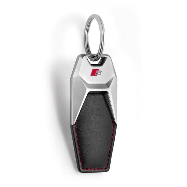 Original Audi Schlüsselanhänger S-Line Metall Leder Anhänger Keyring 3181900700