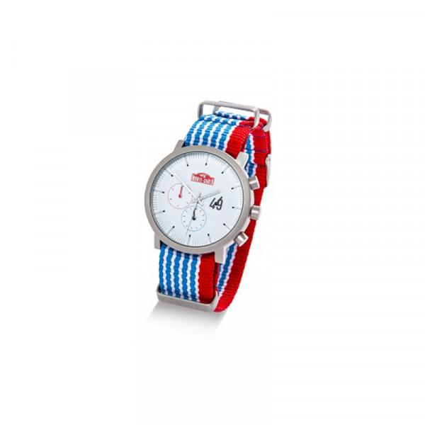 Original Skoda Monte Carlo Armbanduhr Textilband Quarz-Uhrwerk Uhr blau/weiß/rot