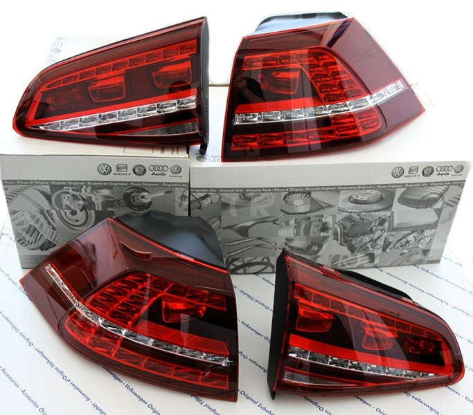 led r ckleuchten vw golf 7 gti kirschrot original tuning. Black Bedroom Furniture Sets. Home Design Ideas