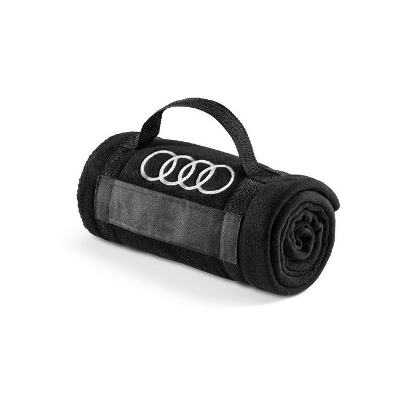 fleecedecke original audi sport decke schwarz ringe logo. Black Bedroom Furniture Sets. Home Design Ideas