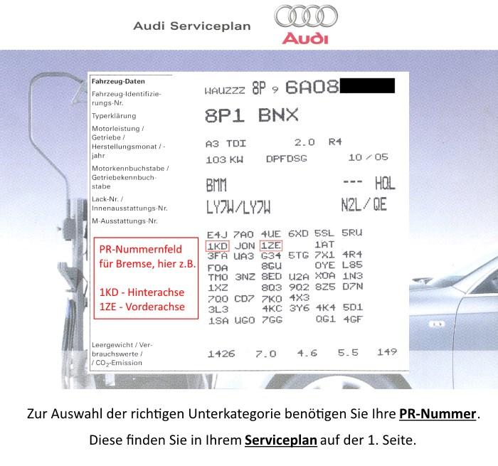 Audi Bremsen PR Nummer Serviceplan